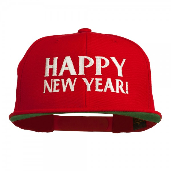 Happy New Year Embroidered Flat Bill Cap
