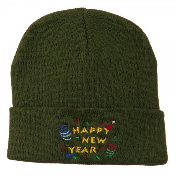 Happy New Year Embroidered Beanie