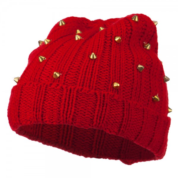 Hematite Stud Knit Beanie Hat - Red