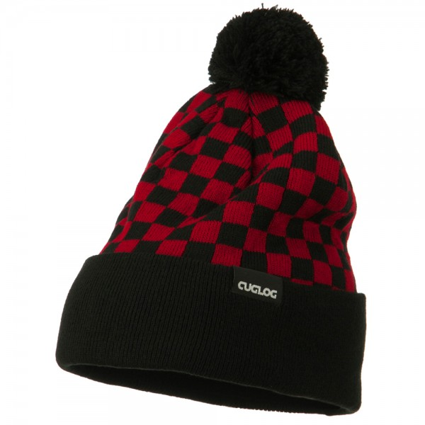 Checkered Long Cuff Pom Pom Beanie - Red