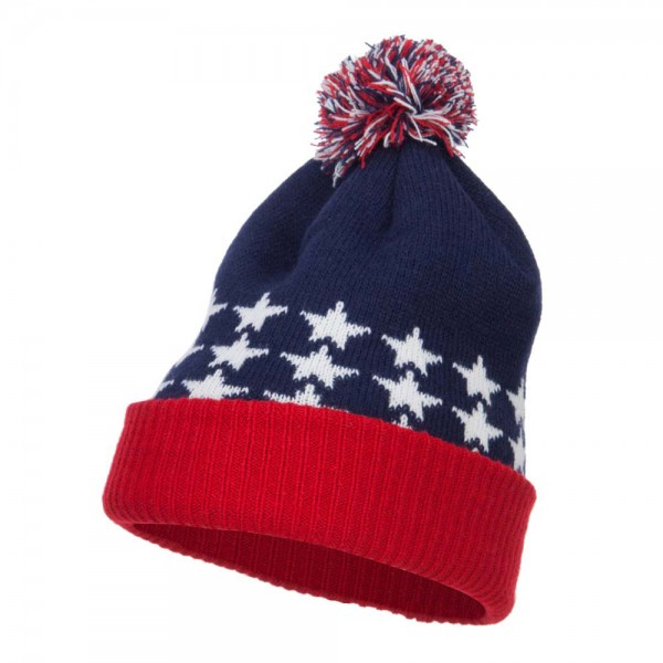 USA Flag Cuffed Pom Beanie - Red Blue