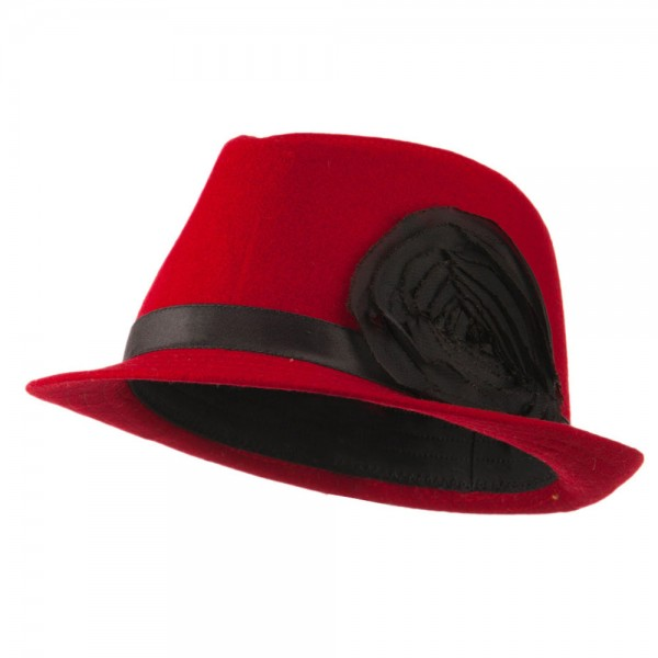 Melton Fedora with Rosette - Red