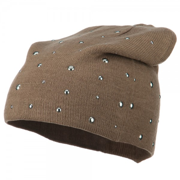 Studded Knit Deep Beanie - Taupe
