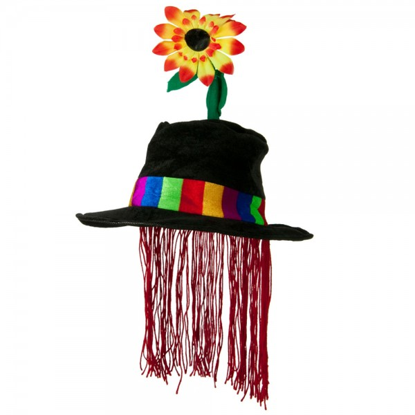 Velvet Clown Hat with Flower and Hair - Black