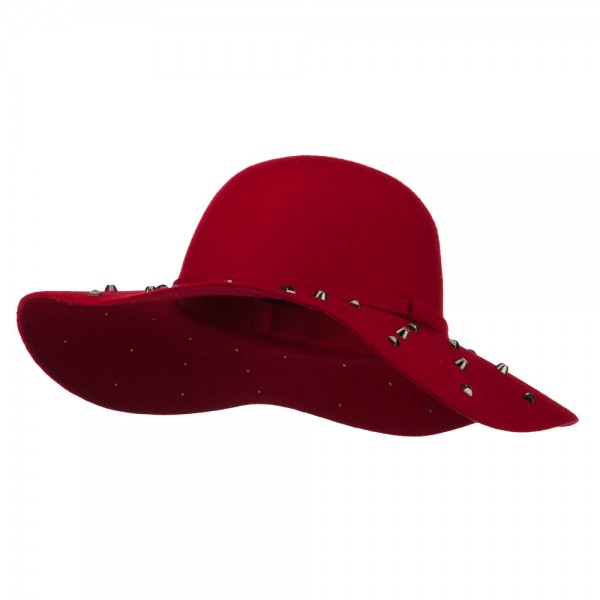 Wool Felt Studded Brim Hat - Red
