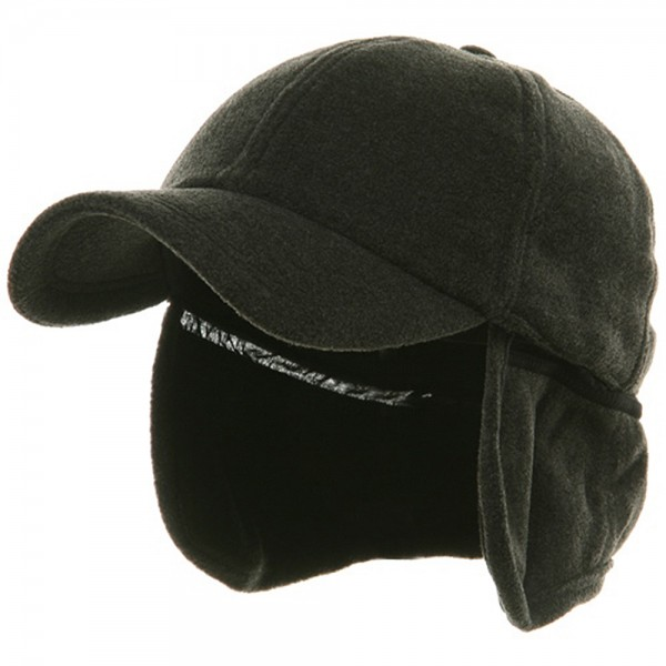 Fleece Earflap Ball Cap - Charcoal