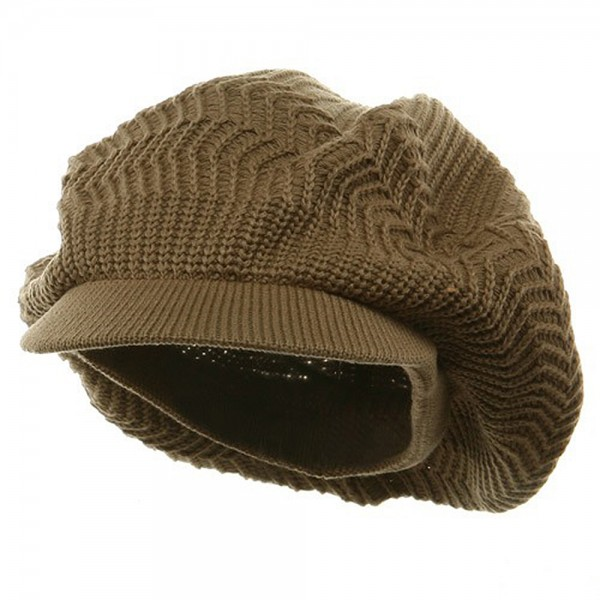 Crown Plain Beanie Visor-Khaki