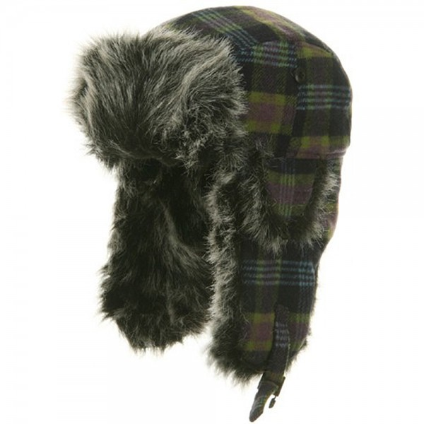 Poly Wool Plaid Trooper Hat - Navy Blue Green