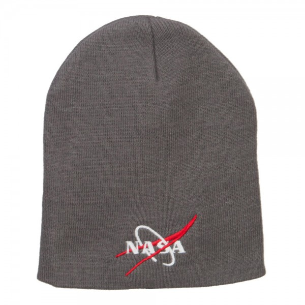 NASA Logo Embroidered Short Beanie - Grey