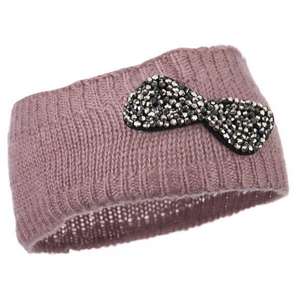 Beaded Knit Bow Headband - Mauve