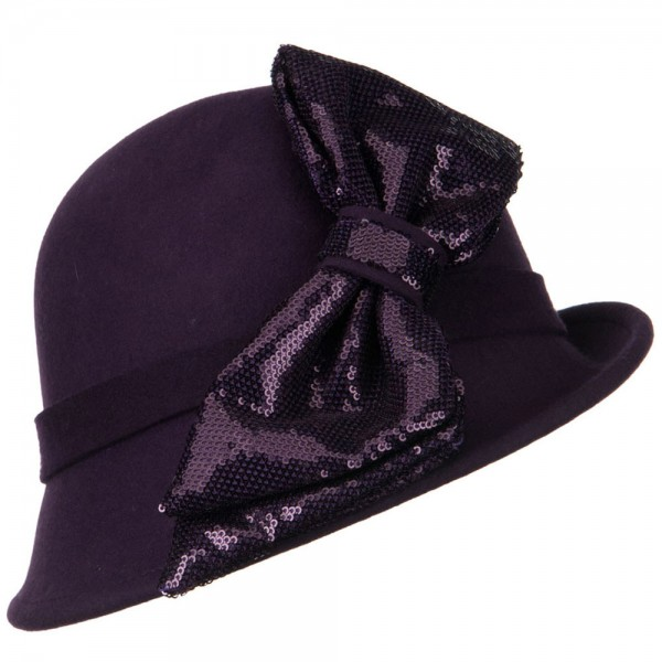 Cloche with Big Sequin Bow - Purple