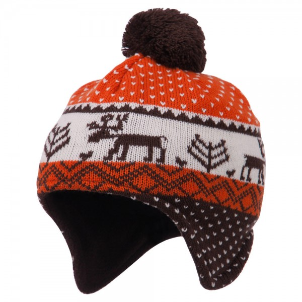 Kid's Deer Peruvian Ski Beanie - Brown Orange