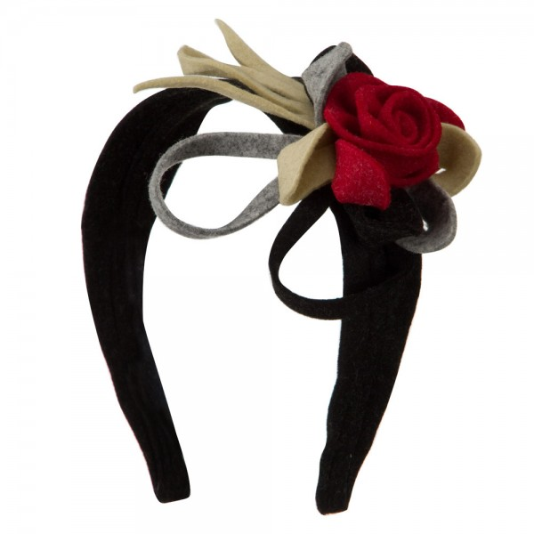 Felt Multicolor Headband with Flower - Black