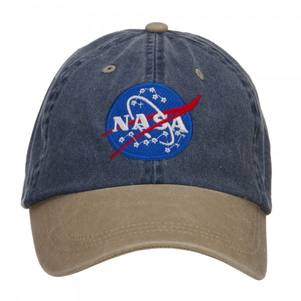 NASA Insignia Embroidered Washed Two Tone Cap - Navy Khaki