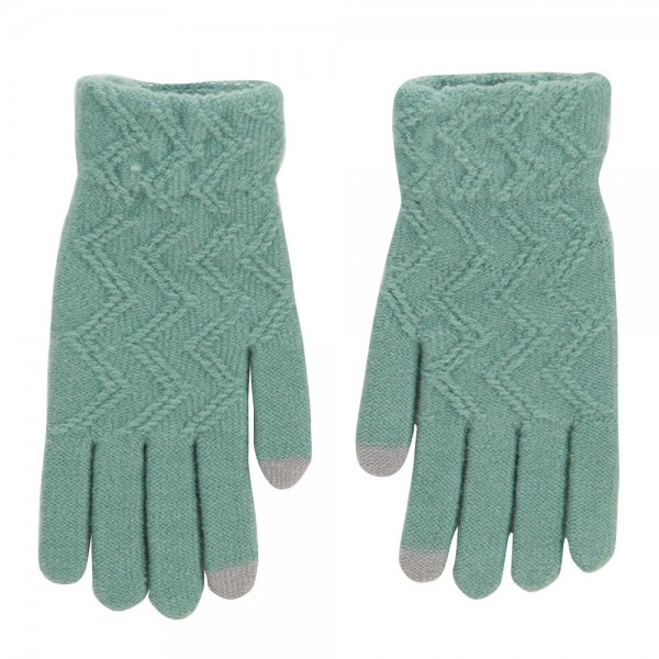 Women's Knit Texting Gloves - Green