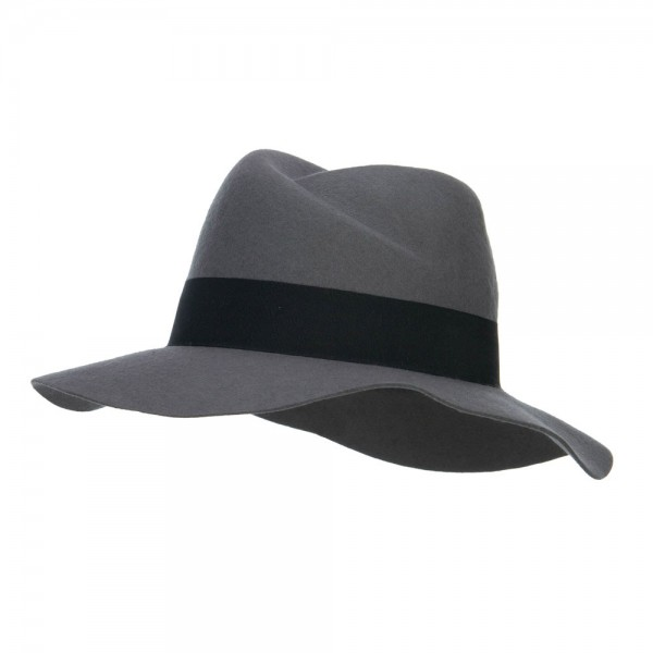 Wool Felt Band Panama Hat - Grey