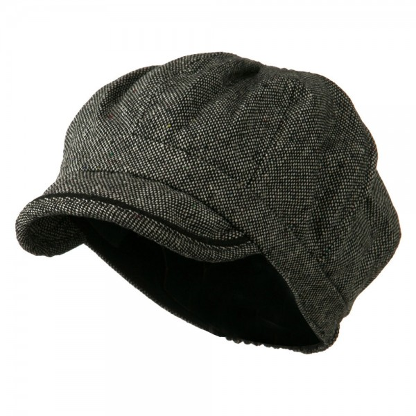 Lady's Wool Blend Tweed Newsboy Cap - Black White