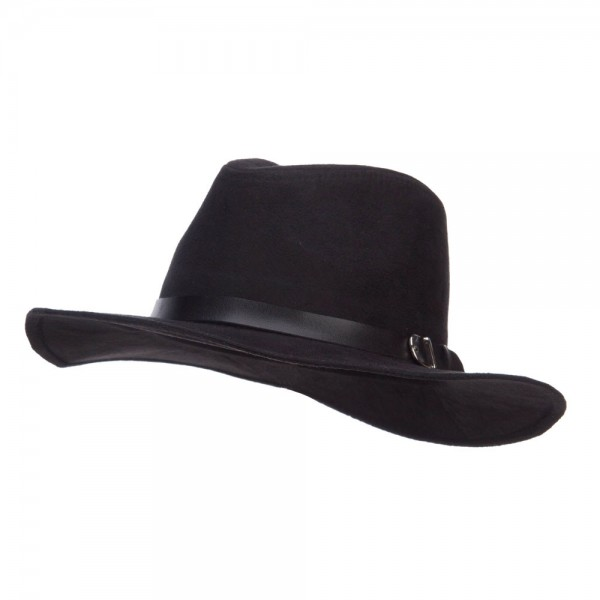 Suede Panama PU Buckle Band Hat - Black