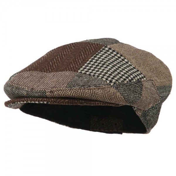 Men's Wool Blend Patchwork Ivy Cap - Brown Black