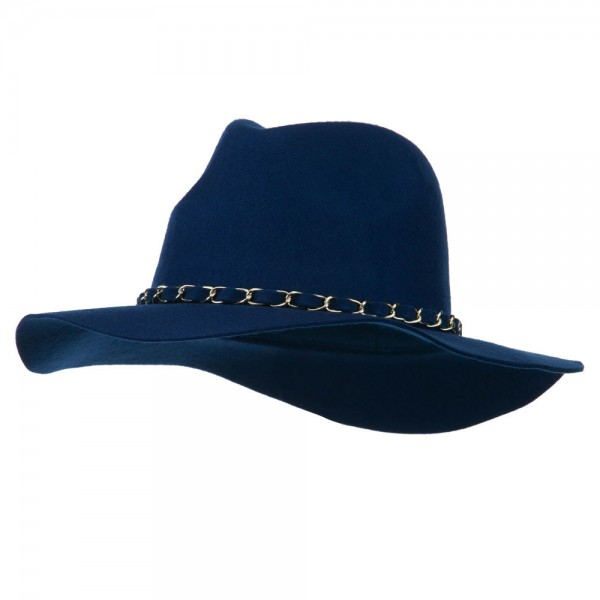 Wool Felt Panama Chain Band Hat - Blue