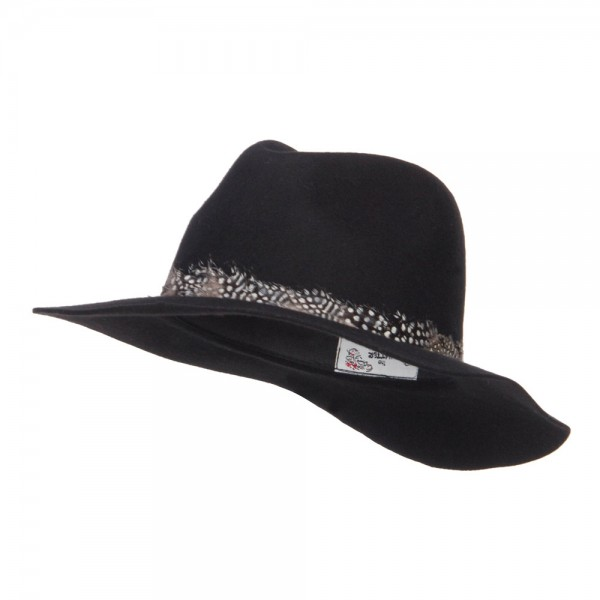 Feather Band Wool Panama Hat - Black