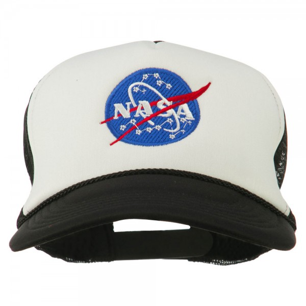 NASA Insignia Embroidered Foam Mesh Cap - Black White