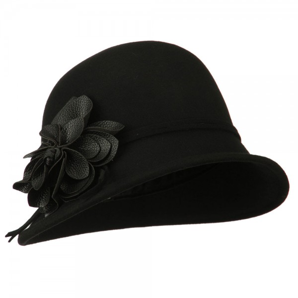 Women's Slanted Brim Cloche Hat - Black