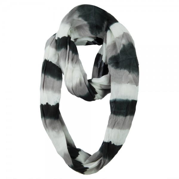 Color Stripe Snood Scarf - Black Grey