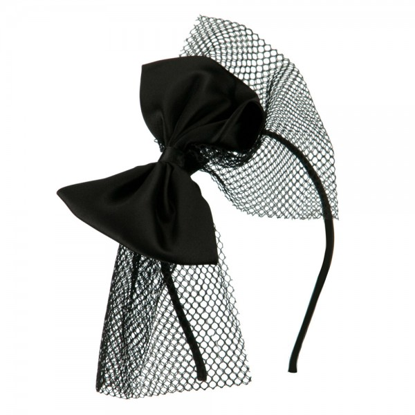 Ribbon Headband with Veil - Black