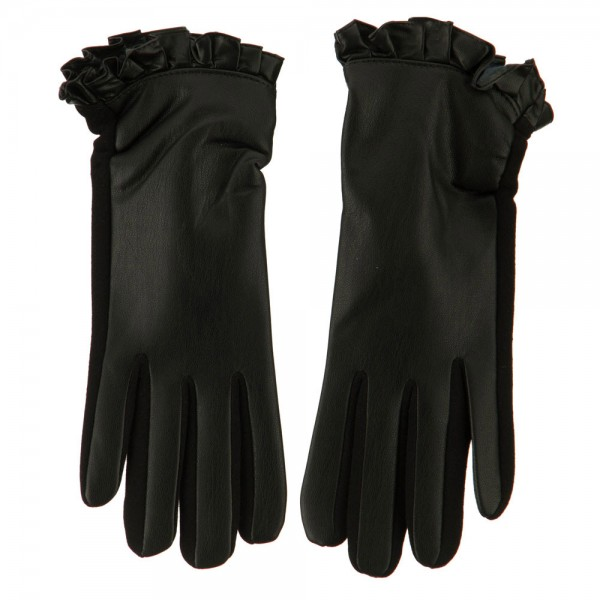 Women's Ruffle Edge Texting Glove - Black
