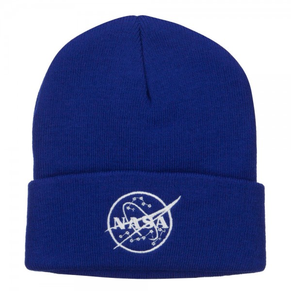 White NASA Logo Embroidered Long Beanie - Royal