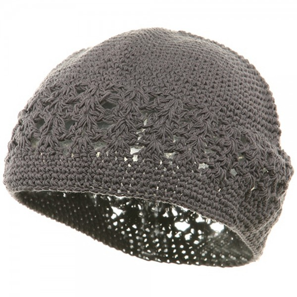 Hand Crocheted Beanie (02)-Grey
