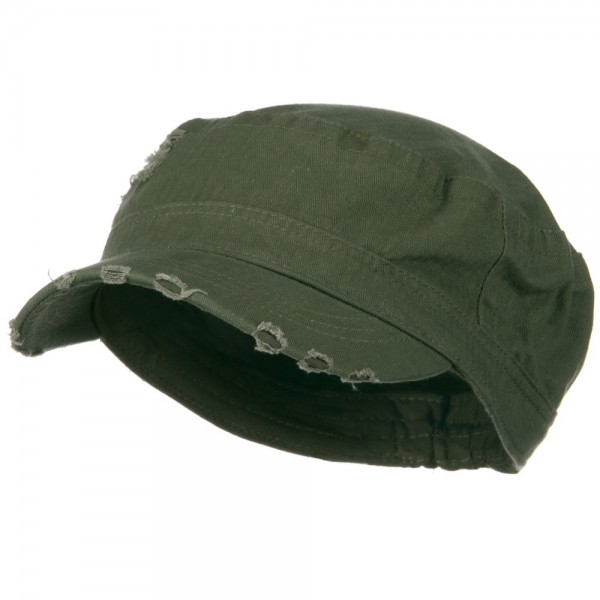 Cotton Herringbone Army Cap-Olive