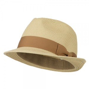 Big Size Toyo Straw Fedora with Band - Natural