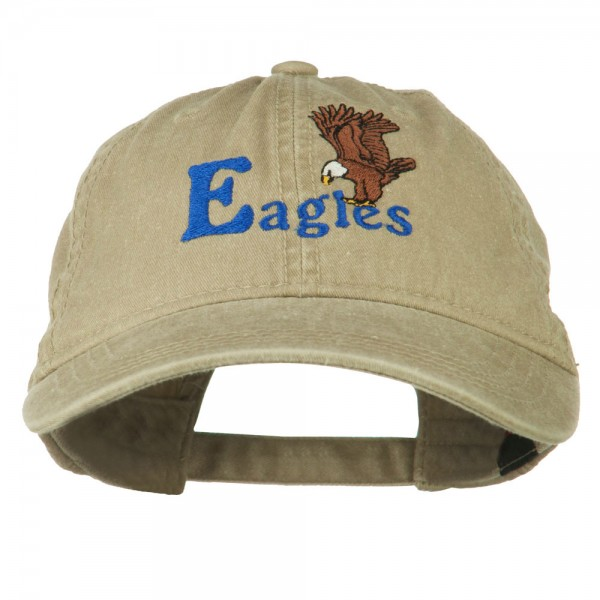 Blue Eagles Embroidered Washed Cap - Khaki