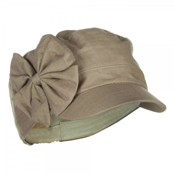 Women's Bow Accent Military Cap - Khaki