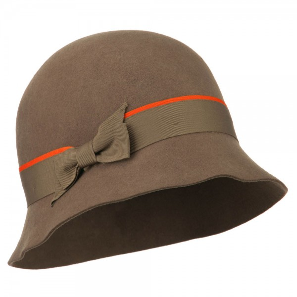Women's Felt Cloche Shape Hat - Taupe