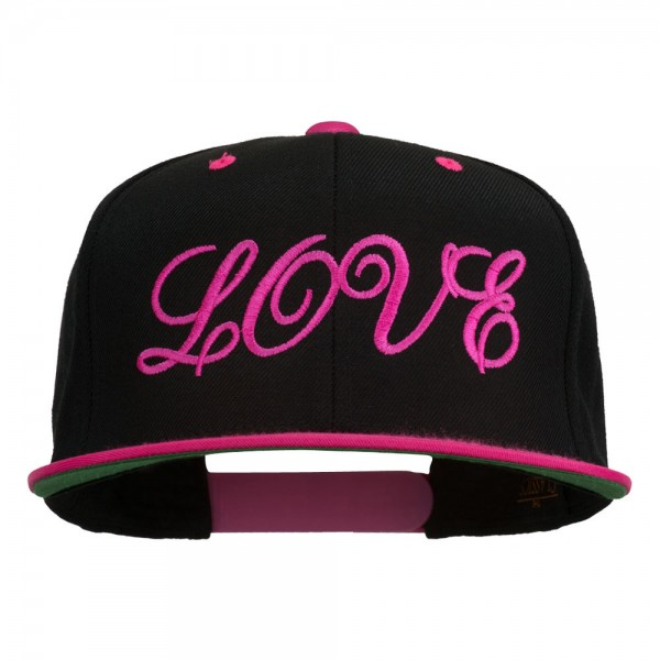 Calligraphy Love Embroidered Snapback Cap - Black Pink