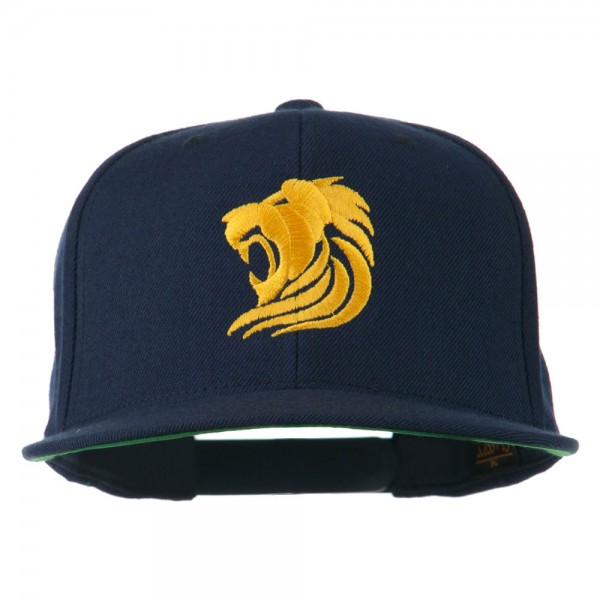 Gold Lion Embroidered Wool Snapback Cap - Navy