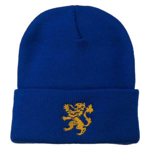 Heraldic Lion Embroidered Long Beanie - Royal