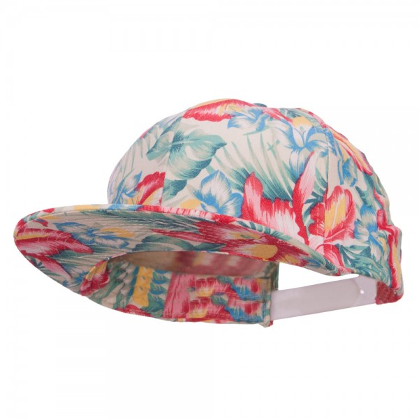 Men's Hawaiian Cotton Snapback Cap - Pink Green