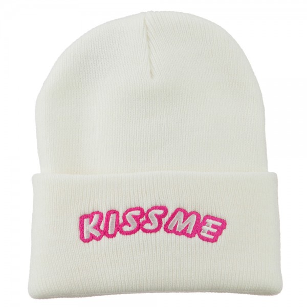 Kiss Me Embroidered Long Knit Beanie - White