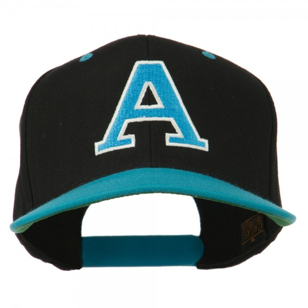 Large A Embroidered Snapback Cap - Black Teal