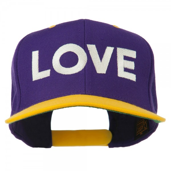 Love Embroidered Snapback Cap - Purple Gold