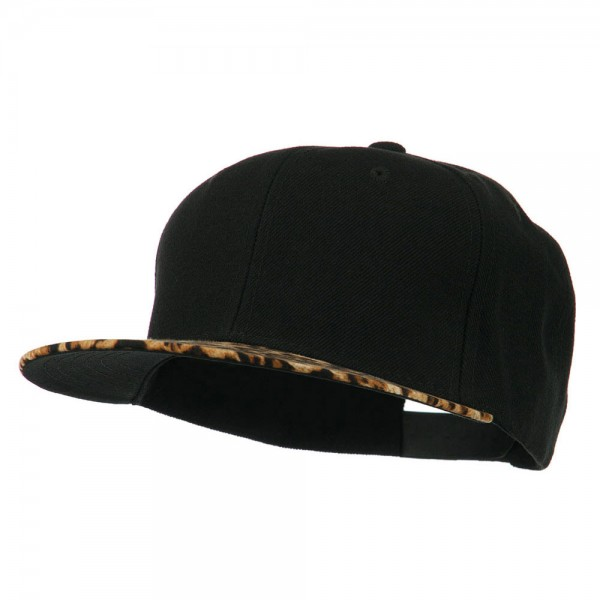 Animal Pattern Flat Bill Snapback Cap - Leopard