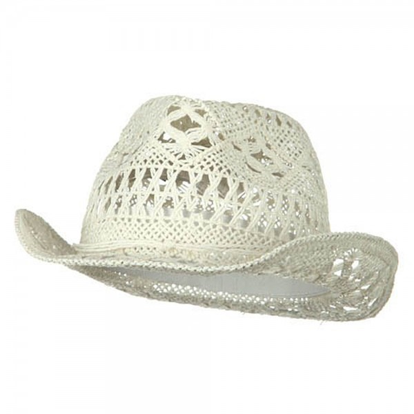 Ladies Toyo Fedora Hat - White