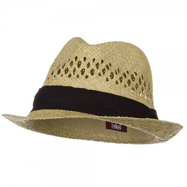 Vented Raffia Straw Fedora Hat-Natural with Black Band