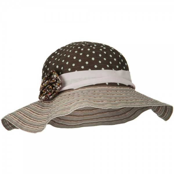 Girl's Polka Dot Bucket Hat - Pink Brown