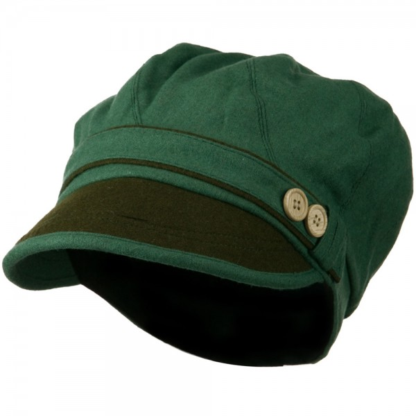Women's 2 Tone Wool Poly Blend Newsboy Cap - Green Olive