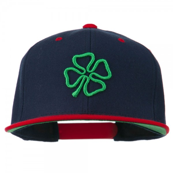 3D Clover Embroidered Two Tone Snapback Cap - Navy Red